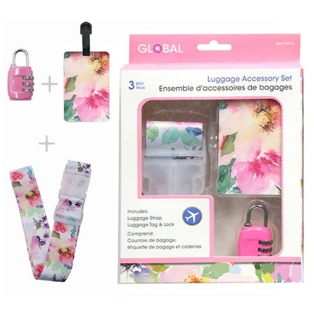 98355_Global_Travel_'Floral'_Luggage_Accessory_Set___Set_of_3__Pink