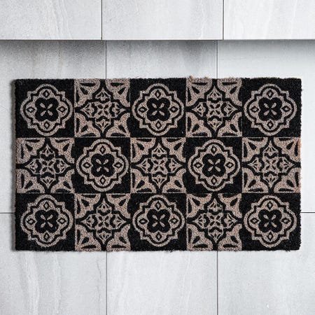 98459_KSP_Casual_'Spanish_Tile'_Coir_Doormat___Small__Grey_Black