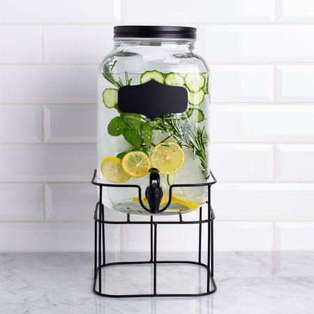 98740_KSP_Oldtyme_'Chalkboard'_Beverage_Dispenser_with_Stand__Clear_Black