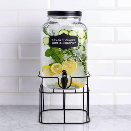 98740_KSP_Oldtyme_'Chalkboard'_Beverage_Dispenser_with_Stand__Clear_Black