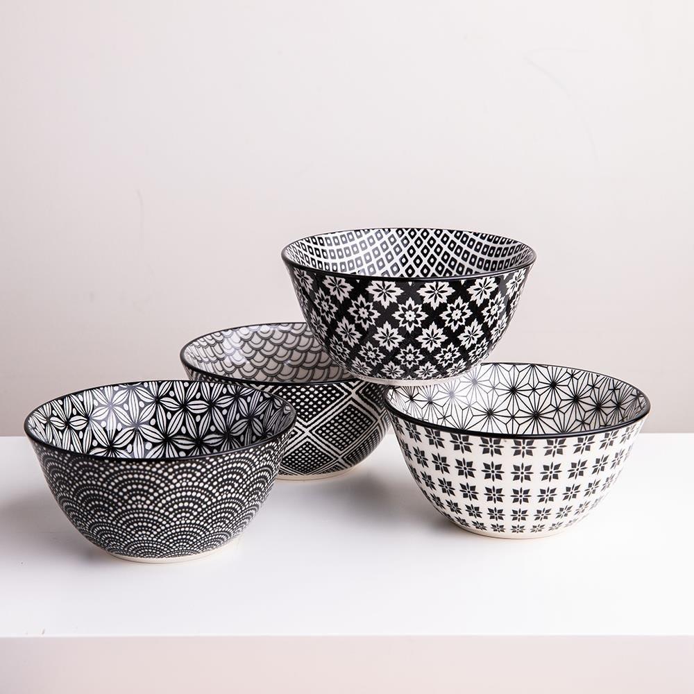 98986_KSP_Oishi_'Assorted'_Stoneware_Bowl___Set_of_4__Black