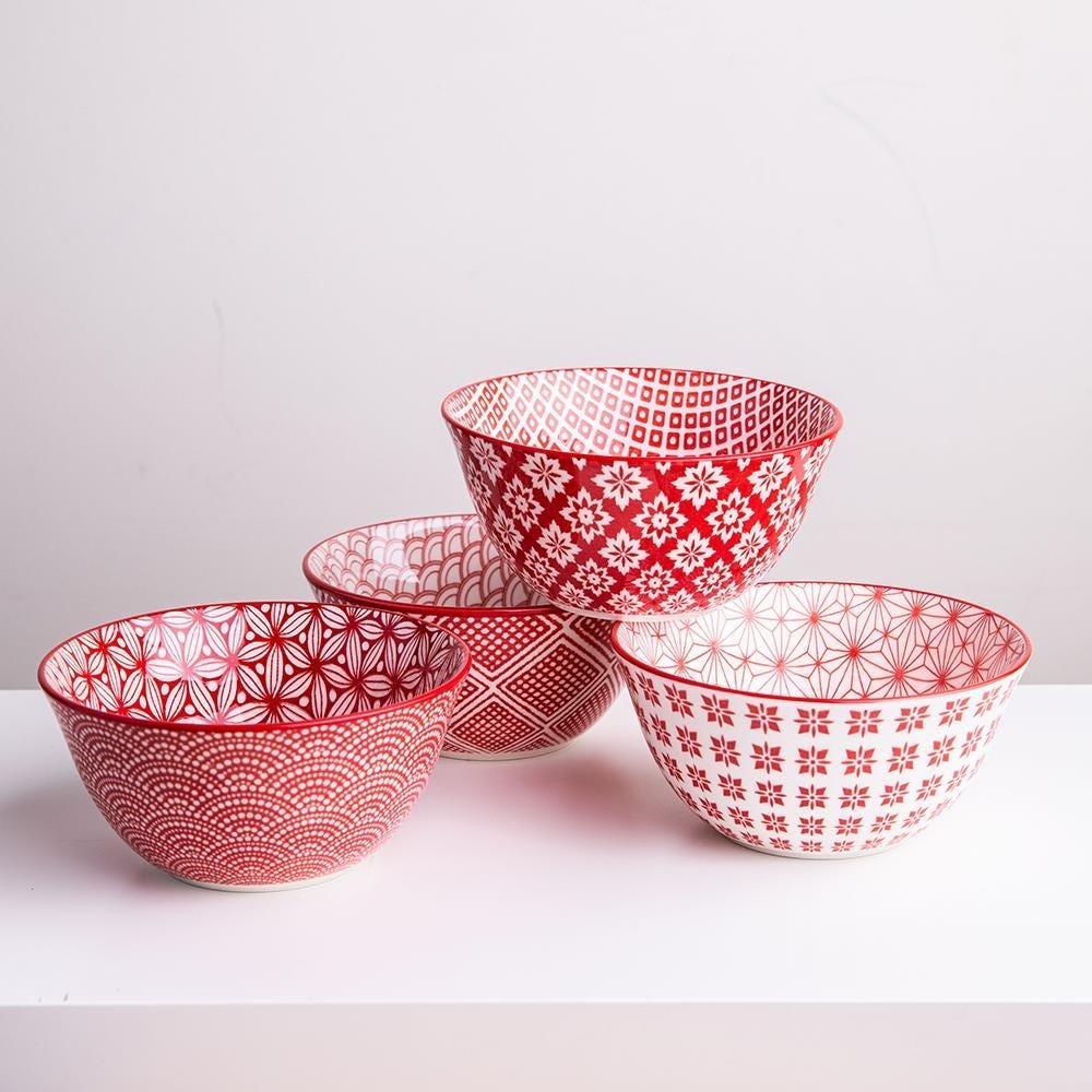 98987_KSP_Oishi_'Assorted'_Stoneware_Bowl___Set_of_4__Red