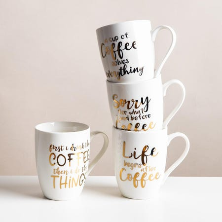 99039_KSP_Graphic_'Coffee_Time'_Mug___Set_of_4__White_Gold