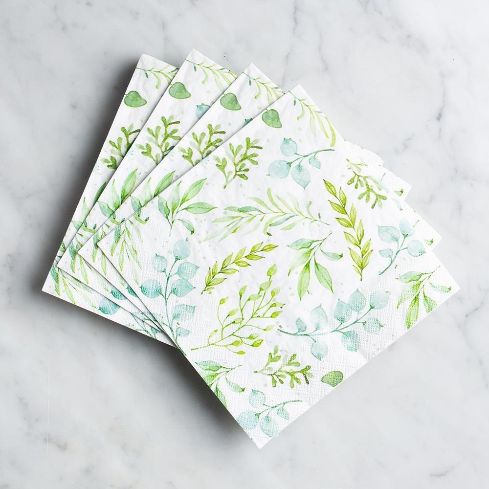 99071_Harman_3_Ply_'Eucalyptus'_Paper_Napkin__Green
