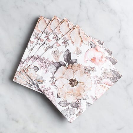 99073_Harman_3_Ply_'Floral'_Paper_Napkin__Pink