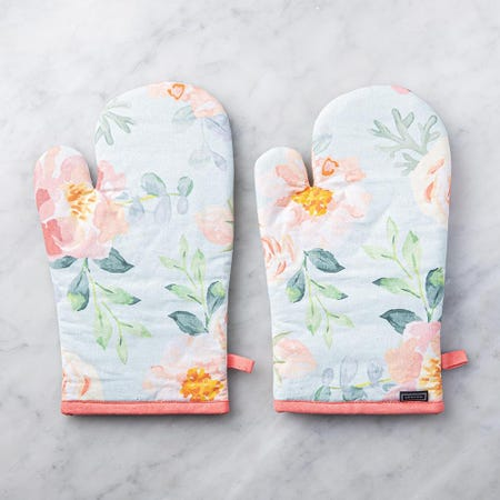 99087_Harman_Gourmet_'Floral'_Cotton_Oven_Mitt___Set_of_2__Peach