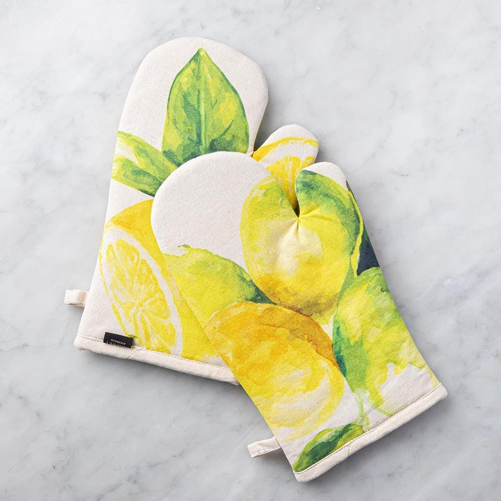 99091_Harman_Gourmet_'Market_Lemon'_Cotton_Oven_Mitt___Set_of_2__Natural