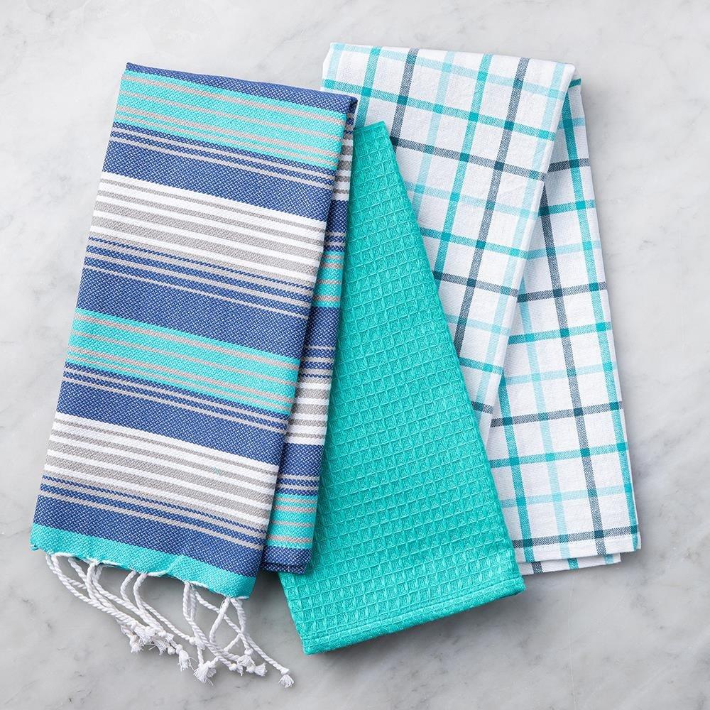 99119_Harman_Combo_'Fringe'_Cotton_Kitchen_Towel___Set_of_3__Turquoise