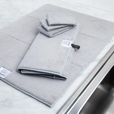99145_Harman_Well_Kept_Microfibre_Dish_Drying_Mats_and_Cleaning_Cloths_Grey