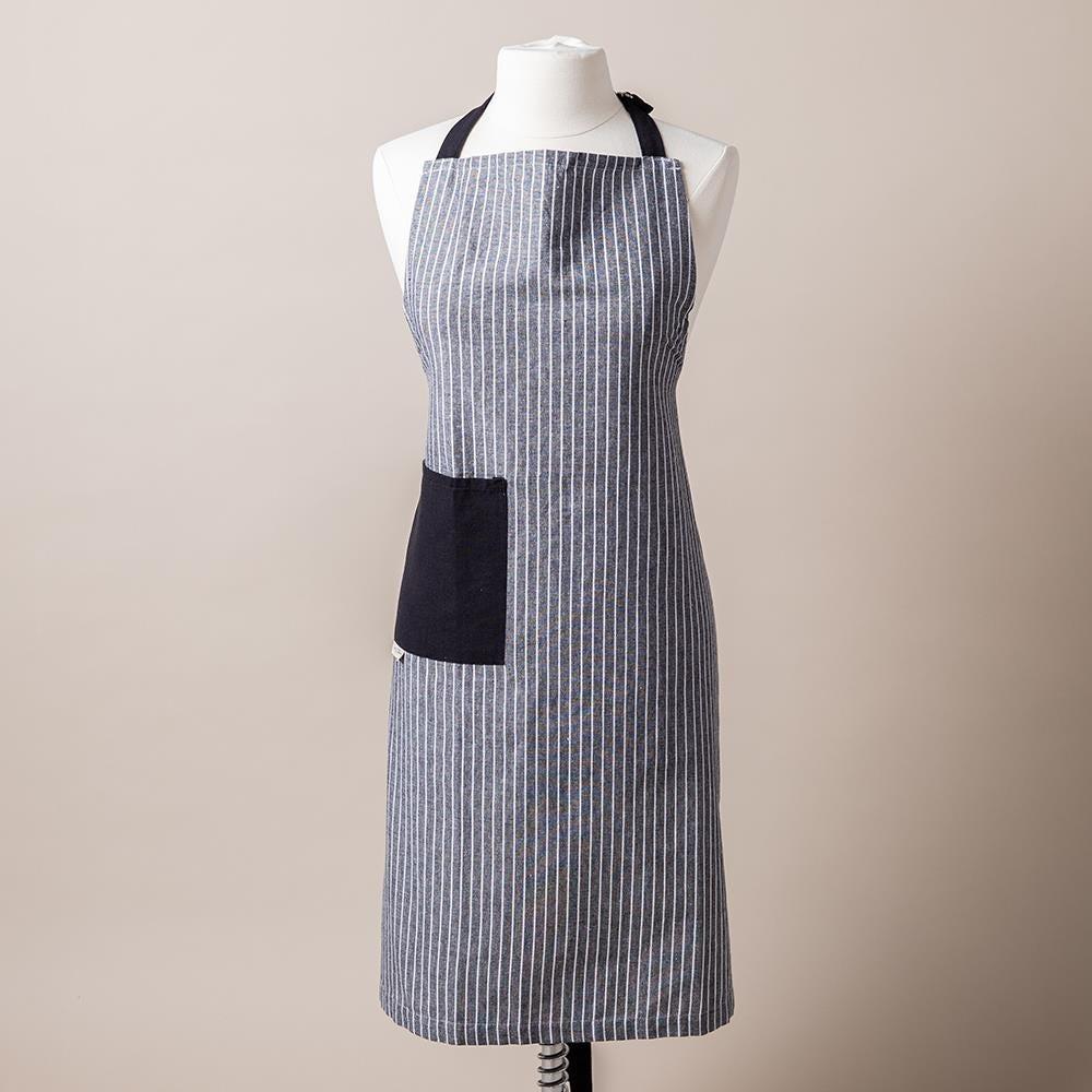 99180_Harman_Printed_'Chambray_Stripe'_Cotton_Apron__Black