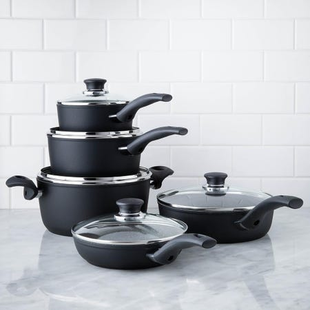Ballarini Rialto Non-Stick Cookware Combo - Set of 10 (Black)