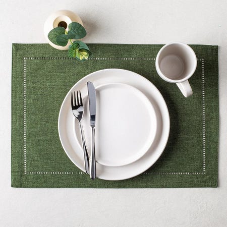99333_Harman_Hemstitch_Polyester_Placemat__Green