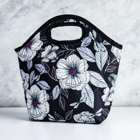 99346_KSP_Bella_'Flora'_Insulated_Lunch_Bag__White_Black