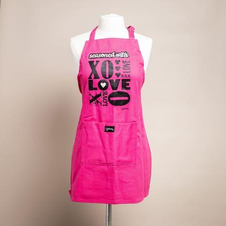 Grimm Phrase 'Xo Love' 100% Cotton Apron (Pink)