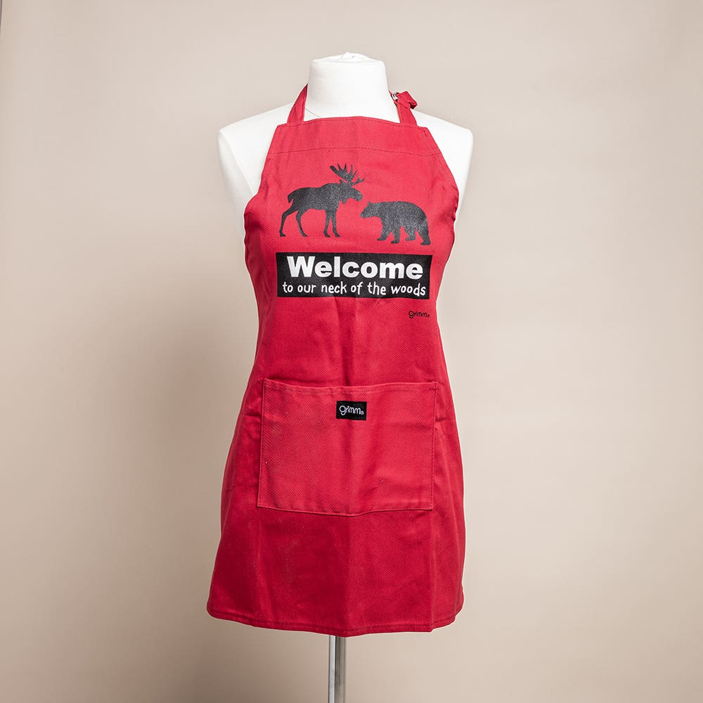 Grimm Phrase 'Welcome' 100% Cotton Apron (Red)