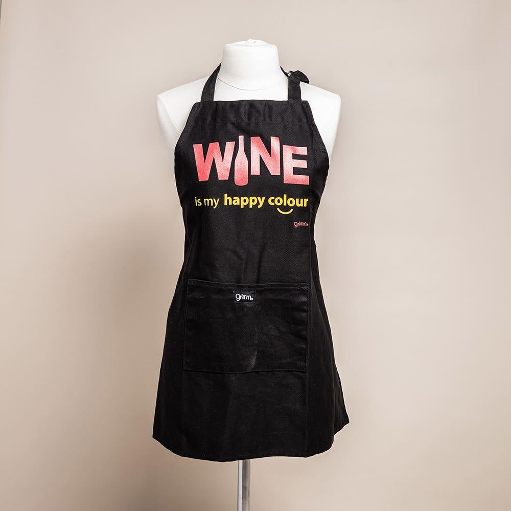 Grimm Phrase 'Wine Happy Colour' 100% Cotton Apron (Black)