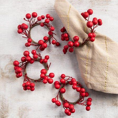 99449_KSP_Christmas_Decor_'Holly_Berries'_Napkin_Ring___Set_of_4__Red