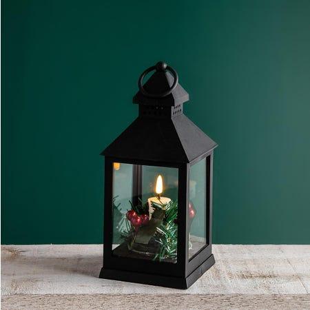 99519_KSP_Christmas_Holly_'Holly_Wreath'_LED_Plastic_Lantern__Black