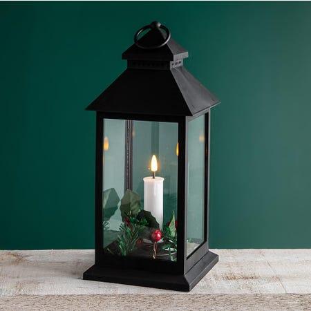 99520_KSP_Christmas_'Holly_Wreath'_LED_Plastic_Lantern__Black
