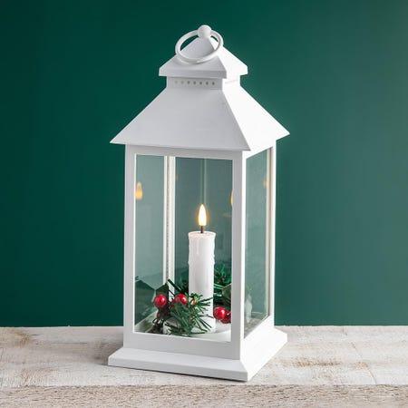 99522_KSP_Christmas_'Holly_Wreath'_LED_Plastic_Lantern__White