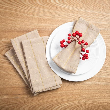 99531_Harman_Christmas_Soft_Check_Cotton_Napkin___Set_of_4__Natural