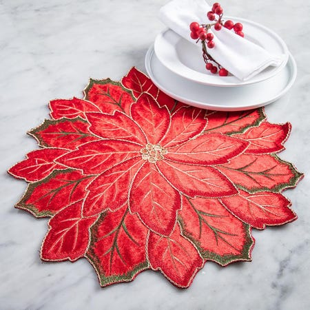 99532_Harman_Christmas_Poinsettia_Embroidered_Cotton_Placemat__Red