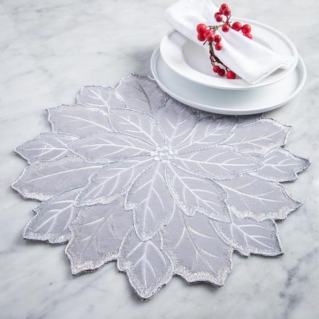 99533_Harman_Christmas_Poinsettia_Embroidered_Cotton_Placemat__Silver
