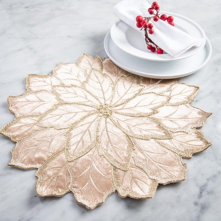 99534_Harman_Christmas_Poinsettia_Embroidered_Cotton_Placemat__Gold