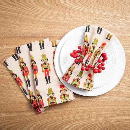 99536_Harman_Christmas_Nutcracker_Cotton_Napkin___Set_of_4__Red