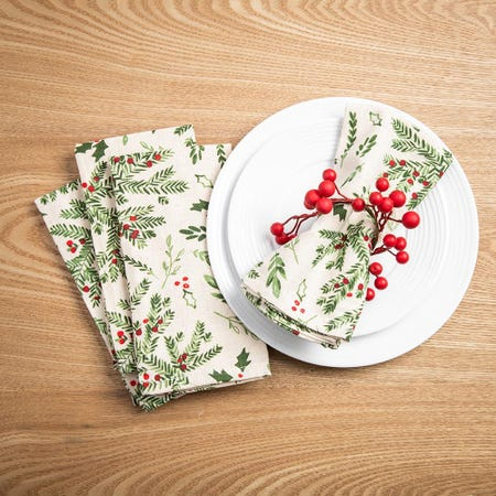 99538_Harman_Christmas_Holly_Cotton_Napkin___Set_of_4