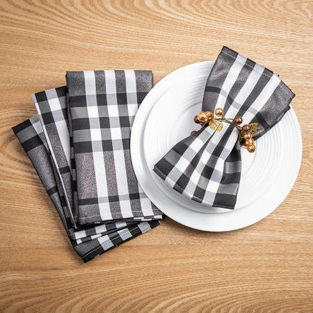 99539_Harman_Christmas_Shimmer_Check_Polyester_Napkin___Set_of_4