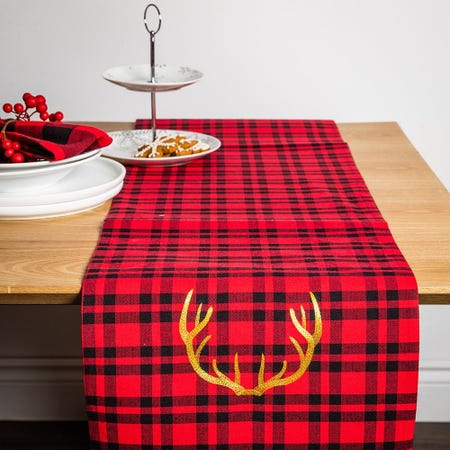 99551_Harman_Christmas_Lodge_Plaid_Cotton_Table_Runner__Red