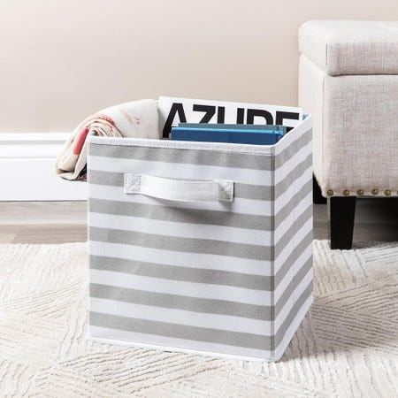 99561_KSP_Collapsible_'Stripes'_Non_Woven_Storage_Bin__Light_Grey