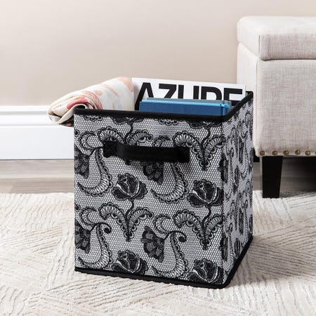 99562_KSP_Collapsible_'Lace'_Non_Woven_Storage_Bin__Black