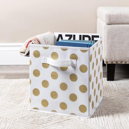 99564_KSP_Collapsible_'Polka_Dot'_Non_Woven_Storage_Bin__Gold