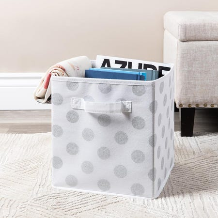 99565_KSP_Collapsible_'Polka_Dot'_Non_Woven_Storage_Bin__Silver