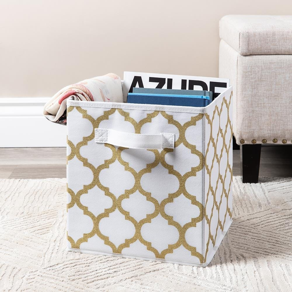 99566_KSP_Collapsible_'Ogee'_Non_Woven_Storage_Bin__Gold
