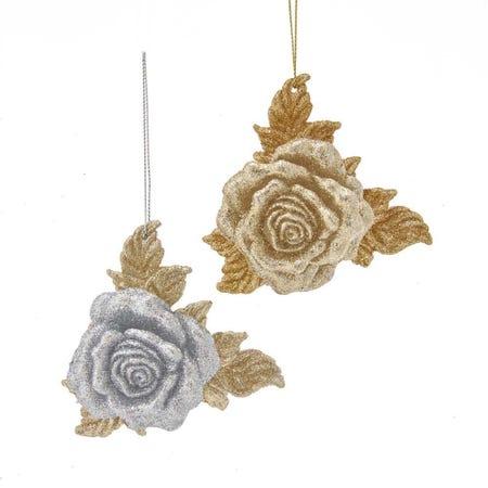 99588_Kurt_Adler_Christmas_'Rose_W_Glitter'_Ornament__Gold