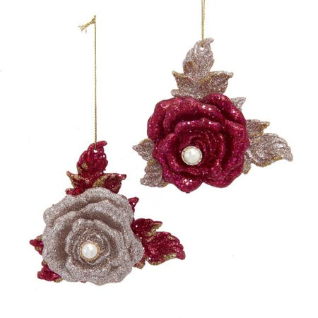 99589_Kurt_Adler_Christmas_'Rose_W_Glitter'_Ornament__Red