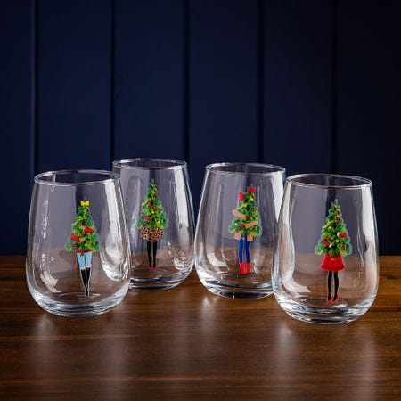 99743_KSP_Christmas_Cheers_'Holidaynista'_Stemless_Wine_Glass___Set_of_4