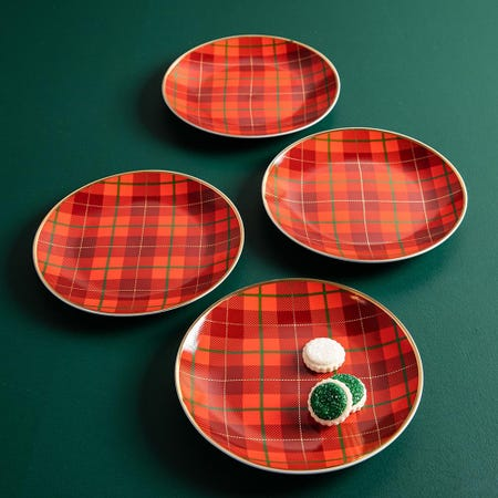99768_KSP_Christmas_Decal_'Plaid'_Porcelain_Side_Plate___Set_of_4