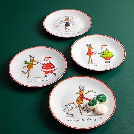 99778_KSP_Christmas_Decal_'Merry_Reindeer'_Porcelain_Side_Plate___Set_of_4