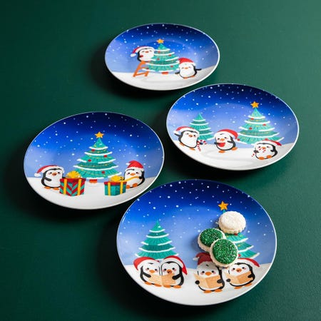 99780_KSP_Christmas_Decal_'Holiday_Cuties'_Porcelain_Side_Plate___Set_of_4