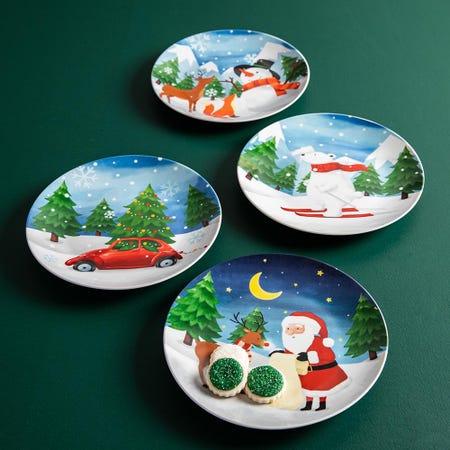 99784_KSP_Christmas_Decal_'Woodland_Santa'_Porcelain_Side_Plate___Set_of_4