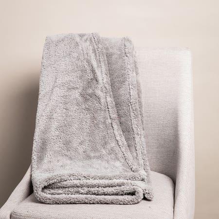 Harman Sherpa Grey Polyester Throw