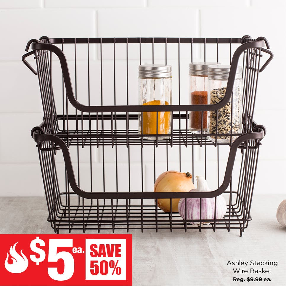$5 Red Hot Deals - Ashley Stacking Wire Basket (Small)