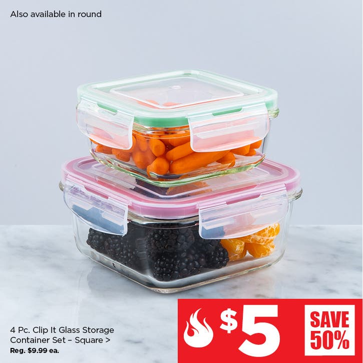 $5 Red Hot Deals – Clip It Glass Storage Container Set