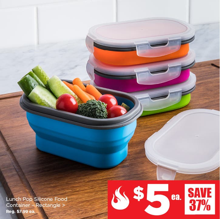 $5 Red Hot Deals – Lunch Pop! 'Rectangle' Silicone Food Container