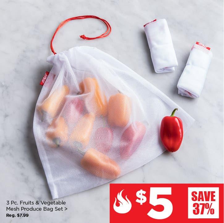 $5 Red Hot Deals – 3 Pc. Mirage Shop Smart Reusable Mesh Bag Set