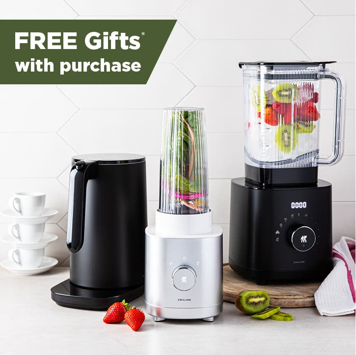 Enfinigy kettle, personal blender, and high performance blender in a countertop